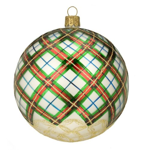 (Waterford Holiday Heirlooms Swirl Plaid Ball Ornament)