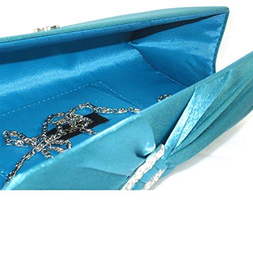 Party Shoulder Handbag Evening Bag Ladies Diamante Women Bridal Zarla Satin Teal UK Clutch xw0qgxpF