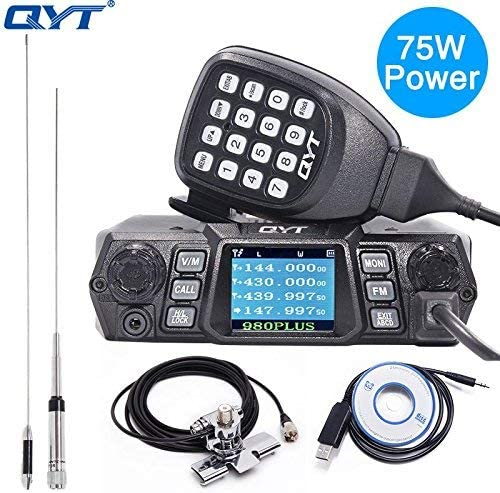 QYT KT-980 Plus Powerful 75W VHF 55W UHF Dual Band Quad Standby Mobile Amateur Ham Radio with Programming Cable CD Antenna Kits