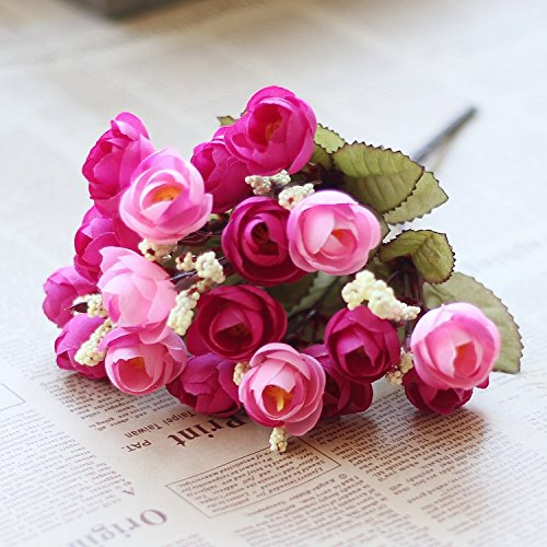 BigFamily Artificial Rose Silk 18 Flower Heads Camellia Peony Bouquet Room Decor ()