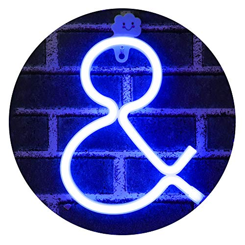 (Obrecis Light Up Letters Neon Signs, Ampersand Blue Marquee Letter Lights Wall Decor for Christmas, Birthday Party, Bar Valentine's Day Words-Blue Letter &)