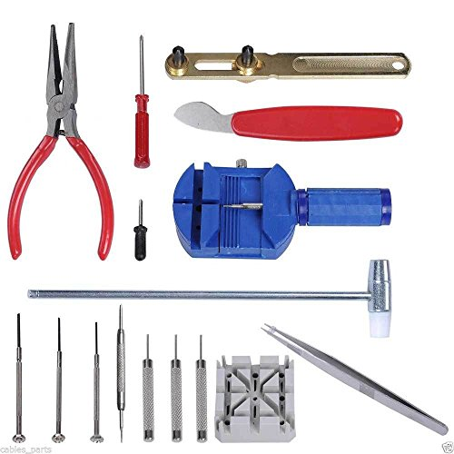 16pc Jewelry Repair Set Kit Watch Wristwatch Battery Changer Link Remover Tool #0024 - Cupboard Kit