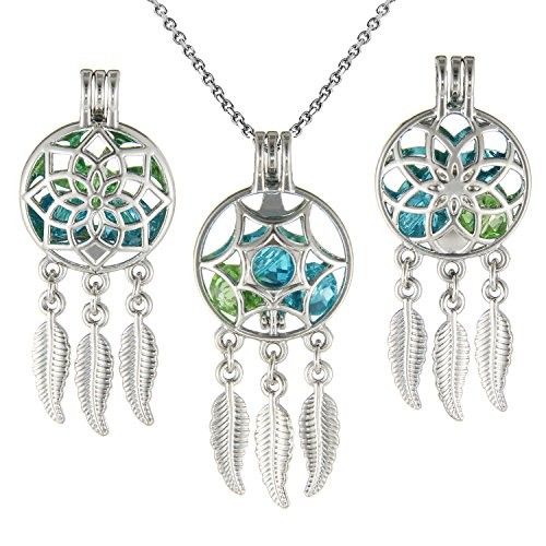 3 Pcs Boho Style Dream Wish Catcher Pearl Bead Cage Pendants - Essential Oil Diffuser Locket Necklace with Stainless Steel (9mm Drop Pearl Pendant)