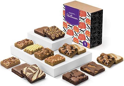 Fairytale Brownies Halloween Bar & Brownie Combo Gourmet Chocolate Food Gift Basket - 3 Inch Square Full-Size Brownies and 3 Inch x 2 Inch Blondie Bars - 15 Pieces - Item CL381 -