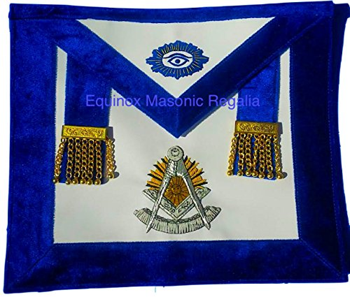 Past Master Royal Blue Chenille Silver and Golden Bullion Emblem Gold Metal Tassels by Equinox