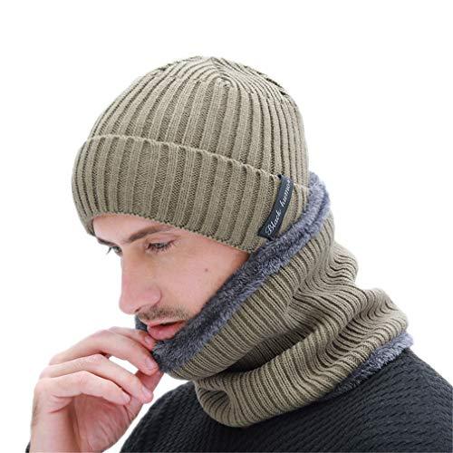 (Winter Men's Scarf Knitted Hat Set Mask Warm Caps Plus Velvet Thick Skullies Beanies Women)