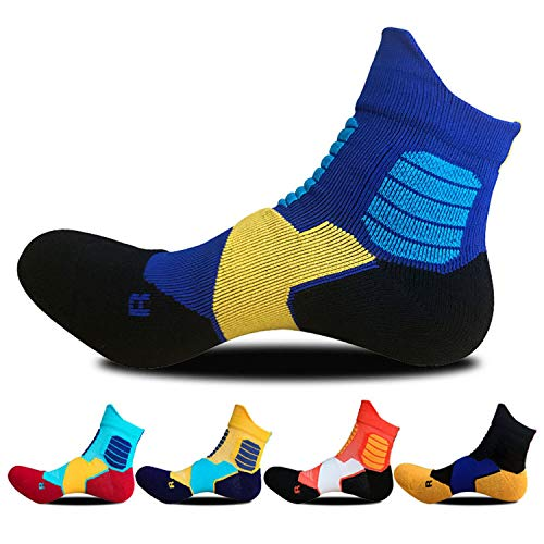SPEEDITOP Mens And Boy's 4/5 Pack Comfort Athletic Low Cut Cushioned Cycling Running Tennis Basketball Ankle Crew Socks