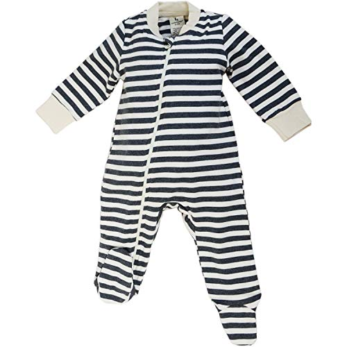 (Dordor & Gorgor Organic Zip Front Sleep 'N Play, Unisex Baby Footed Pajamas, Cotton (6-9 Month, Gray Striped 1))