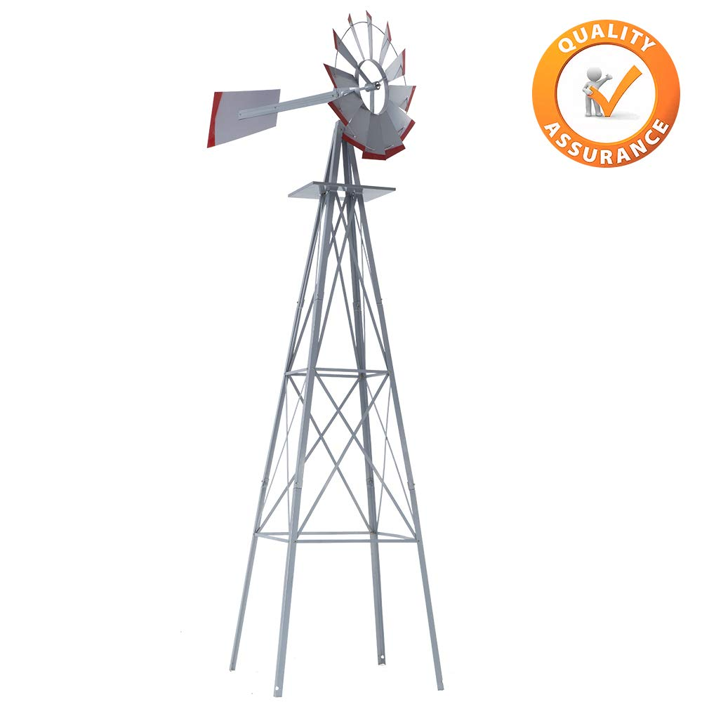 FDW Windmill 8FT Yard Garden Metal Ornamental Wind Mill Weather Vane Weather Resistant 4-Leg Heavy Duty Design,Gray