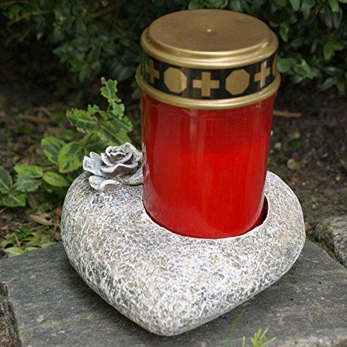 Grabschmuck Herz mit Rose und roter LED Grabkerze. Durchmesser 15cm