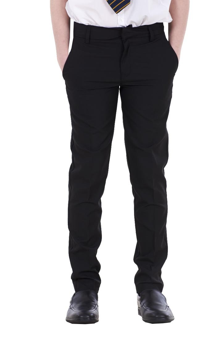 BHS Boys ex Slim Fit Skinny Grey Adjustable Waist Black School Trousers