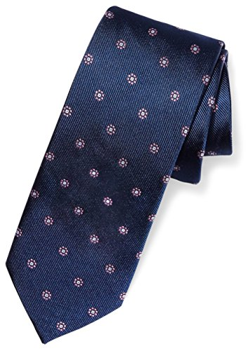BUTTONED DOWN Men's Classic Silk 3 Necktie, navy/pink flowers, Extra Long