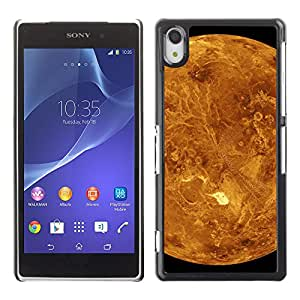 QCASE / Sony Xperia Z2 D6502 D6503 D6543 L50t L50u / marte planeta rojo cráteres amarilla vista horizontal / Delgado Negro Plástico caso cubierta Shell Armor Funda Case Cover