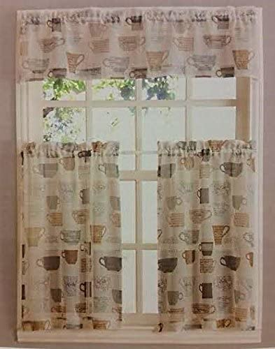 Home Fashions Coffee Cups Kitchen Window Curtain Set 3 Pc