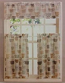 Coffee Cups Kitchen Window Curtain Set 3 Pc
