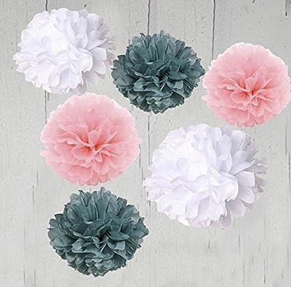 Amazon heartfeel 6pcs 10 inch tissue paper pom poms flower heartfeel 6pcs 10 inch tissue paper pom poms flower balls paper flower white grey baby pink mightylinksfo