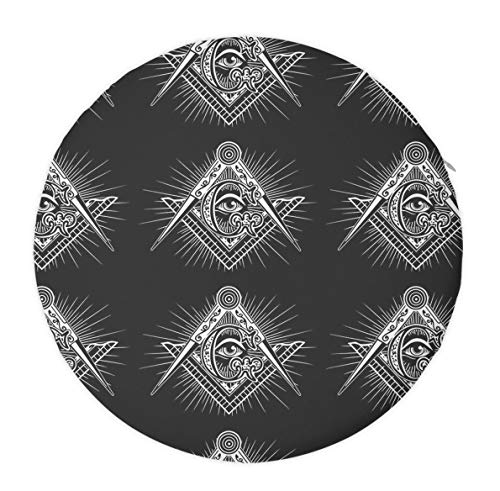 Freemasonry Freemason Logos Black Seat Cushion Memory Foam Cushion for Office Chair/Computer Chair/Home, Round Multi-Use Sit Cushion for Back Hip Leg Pain Relief - 16 inch Diameter