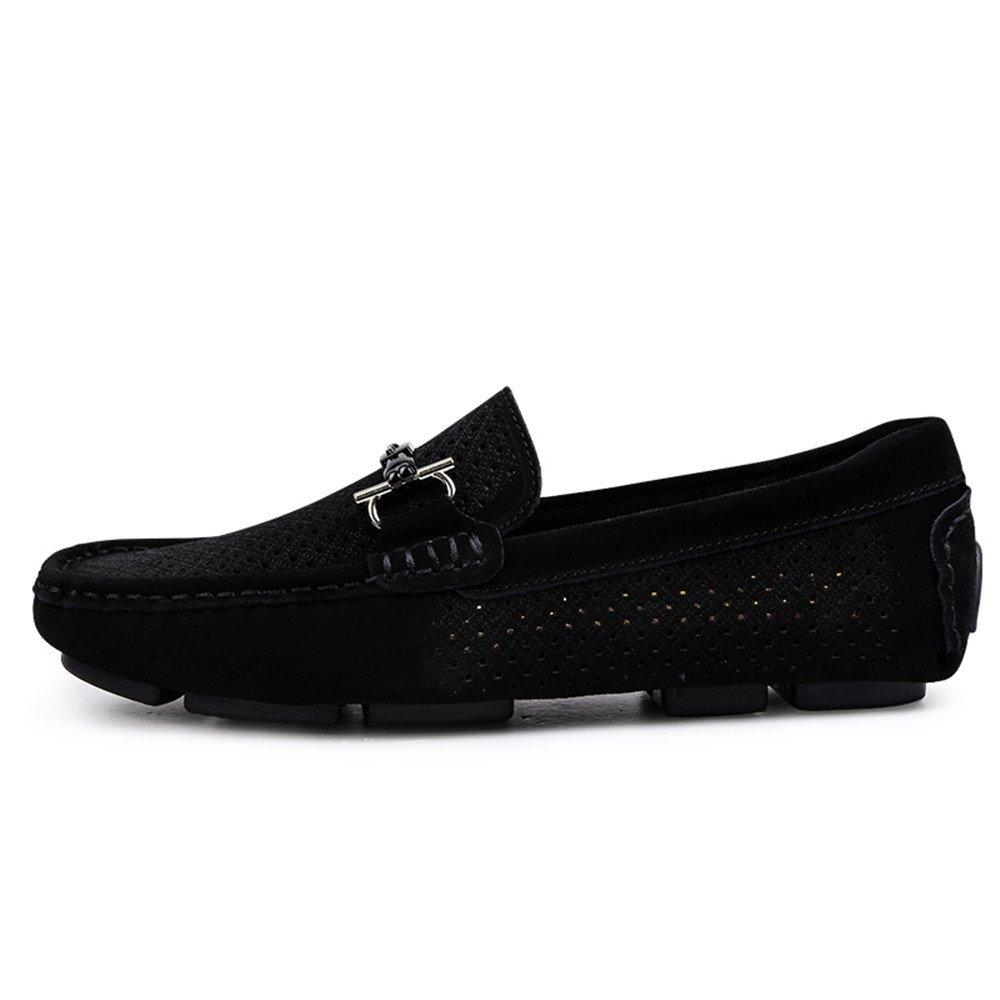 Männer Fahren Loafers Casual Leder Schleifen Anti Stil und hohl atmungsaktiv Anti Schleifen Rutsch Soft Bottom Boot Mokassins Hohle Schwarz 25feeb