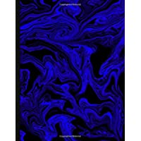 Image for Krisp - Ukulele Tabs Blank Staff Manuscript Paper Music Notebook with Chord Boxes and Lyric Lines for Composing Songs (Neon Blue Marble Smoke)