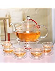 Beddingleer Dzbanek do herbaty ze szkła 600 ml zaparzacz do herbaty + 6 filiżanek do herbaty + podgrzewacz z filtrem szklanym i szklaną pokrywką z wysokiej jakości szkła borokrzemowego
