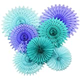 Mermaid Baby Shower Decorations Aqua Blue Teal Purple Tissue Paper Fan/Summer Party/Beach Party/Tropical Party/Under The Sea Party Tissue Paper Pom Pom Flower/Mermaid Party Birthday Decorations