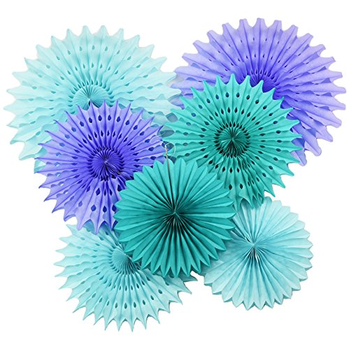 Mermaid Baby Shower Decorations Aqua Blue Teal Purple Tissue Paper Fan/Summer Party/Beach Party/Tropical Party/Under The Sea Party Tissue Paper Pom Pom Flower/Mermaid Party Birthday Decorations by Qian's Party