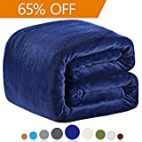 """Polar Fleece Blankets King Size for The Bed Extra Soft Brush Fabric Super Warm Sofa Blanket 90"""" x 108""""(Royal Blue King)"""