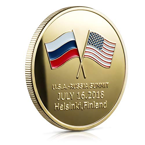 Exclusive Series USA Russia Coin - Beautiful 24k Gold Plated Trump Presidential Challenge Coin - Commemorative Edition 2018 President Donald Trump - Putin Summit by Designer Michael Zweig