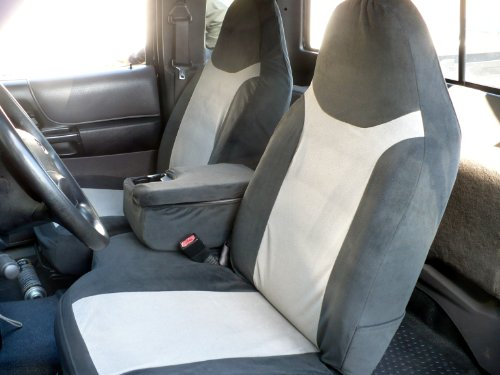 Durafit Seat Covers Made To Fit 2002 2003 Ford Ranger 60 40 Split Seat With Opening Center Console Seat Covers In Black Gray Velour Fabric