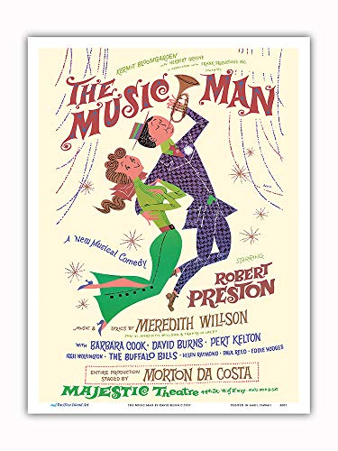 Pacifica Island Art - The Music Man - Starring Robert Preston - Majestic Theater Broadway - Vintage Theater Poster by David Klein c.1957 - Master Art Print - 9in x 12in