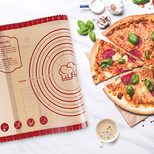 Large Non-slip Silicone Pastry Baking Mat with measurements,Non Stick Silicone Baking Sheet for Rolling Dough,Oven Liner, Pie Crust,Fondant,Pizza – Easy Clean Silicone Mat(20x28, red)