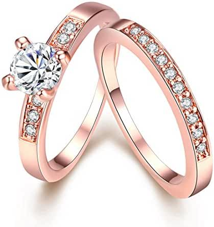 [Eternity Love] Women's Pretty 18K Rose Gold Plated Solitaire CZ Crystal Engagement Rings Set Best Promise Rings for Her Anniversary Wedding Bands TIVANI Collection Jewelry Rings
