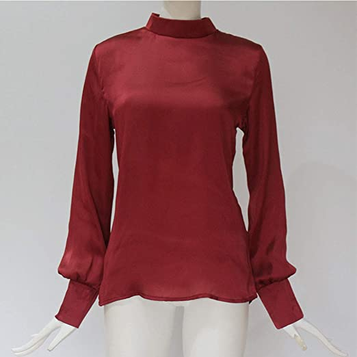 80d00321a7 Womens Puff Sleeve Chiffon Blouse Long Sleeve Stand Collar Elegant Work Shirts  Blouses Loose