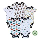 Mother Nest Baby Boys Girls Bodysuits Short Sleeve 100% Cotton, 5 Packs