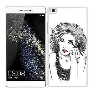 Funda carcasa para Huawei P8 diseño chica maquillándose 2 borde blanco