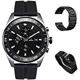 LG Watch W7 Stainless Steel Classic Design Smart Watch (W315) with Wear OS + Metal Wrist Band (Black) + Round Tempered Glass Screen Protector Film