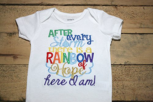 Rainbow Baby Embroidered Bodysuit with After Every Storm There is a Rainbow of Hope Here I am Bodysuit by Seaux Sweet Embroidery