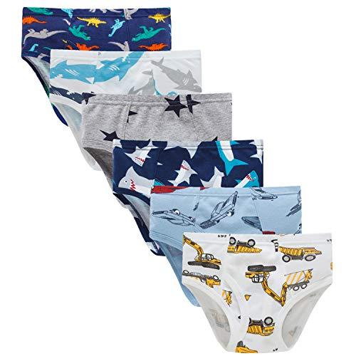 Boboking Little Boys Briefs Dinosaur Truck Toddler Kids Underwear (Pack of 6) 5/6Y