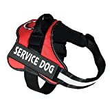 Red Large Service Dog Harness – Xl Dog Hiking Vest Harness Mesh Oxford Fabric, No Pull Best Girl Boy Harness For Big Dogs 55-66 Lb (red)