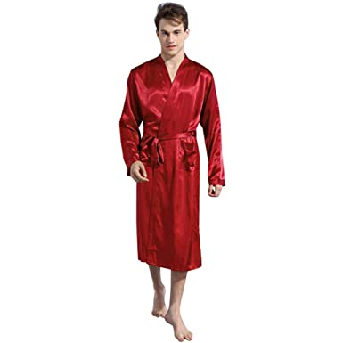 DEELIN Ropa De Dormir CóModa Suelta Mens SatéN Pijamas Kimono Albornoz Bata Bata Vestido CamisóN Moda Nightdress: Amazon.es: Ropa y accesorios