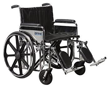 STD24DFA-ELR - Sentra Extra Heavy Duty Wheelchair, Detachable Full Arms, Elevating Leg Rests, 24 Seat