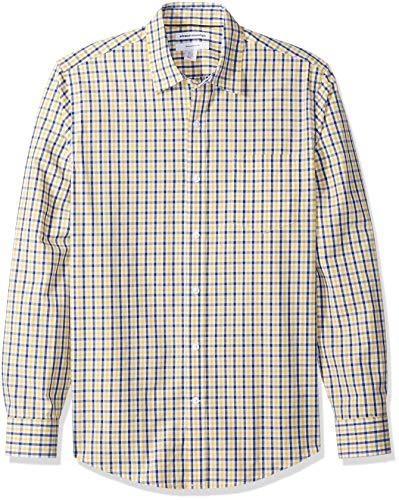 Amazon Essentials Men's Slim-Fit Long-Sleeve Casual Poplin Shirt, Gold/Navy, Large -