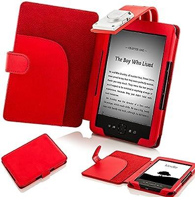 Forefront Cases Funda para Amazon Kindle (4a y 5a Generación - 2012 Modelo) Funda Carcasa Stand Case Cover con Luz de Lectura LED - Extra Robusto y Protección Completa del Dispositivo - Rojo: Amazon.es