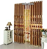 TIYANA Delicate Embroidery European Style Semi Cloth Curtains for Living Room Grommet Top Curtains Luxurious Royal Style Window Panels for Bedroom, 1 Panel, Cockscomb Flower, W39 x L96 inch