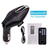 Free Remote Control FM Transmitter Bluetooth USB Car Charger Radio Adapter Wireless Stereo Music Player for Phones With Hands Free Calling Support Input SD Card Slot and 3.5mm Link-in Jack