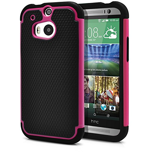 HTC One M8 Case, MagicMobile Rugged Durable Impact Resistant Shockproof Double Layer Cover Hard Armor Shield Shell and Soft Flexible Silicone Case for HTC One 8 Color: Black - Pink [Compatible Only with HTC One M8]