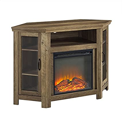 amazon com pemberly row 48 wood corner fireplace media tv stand rh amazon com golden oak corner fireplace oak corner electric fireplace entertainment center