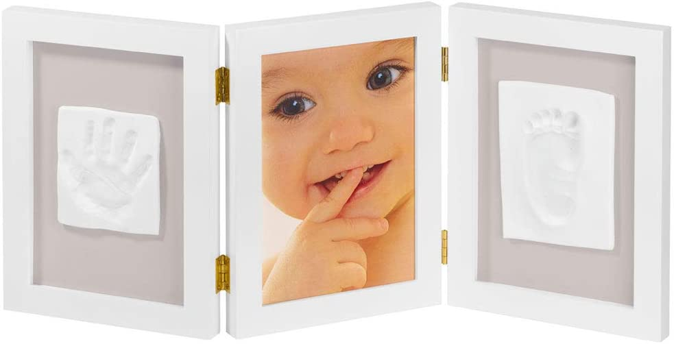 My Sweet Memories ES Photo Frame + 2 Baby Print - Marco triple para foto y 2 huellas de bebé, color blanco