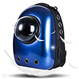 Geekercity Pet Carrier Backpack Bag for Small Little Medium Dogs Cats, Innovative Portable Plastic Space Capsule Astronaut Travel Bubble Box Purse for Women Men Outdoor Use (Dark Blue)
