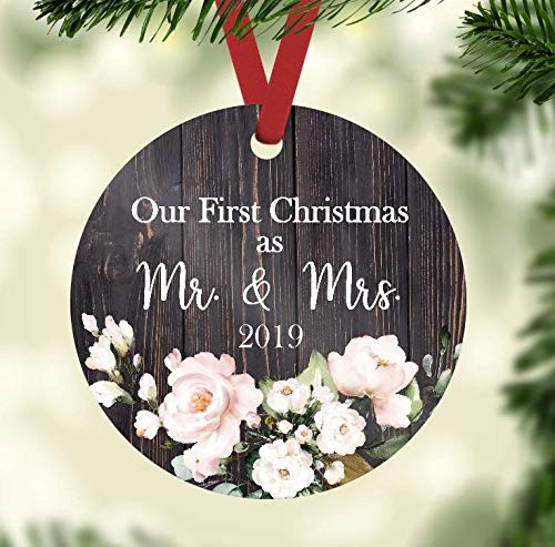 Christmas Ornament - Our First Christmas as Mr. and Mrs. 2019 - Rustic Christmas -